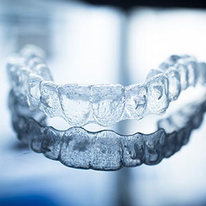 Invisalign alignment tray on table