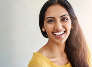 young woman smiling happy