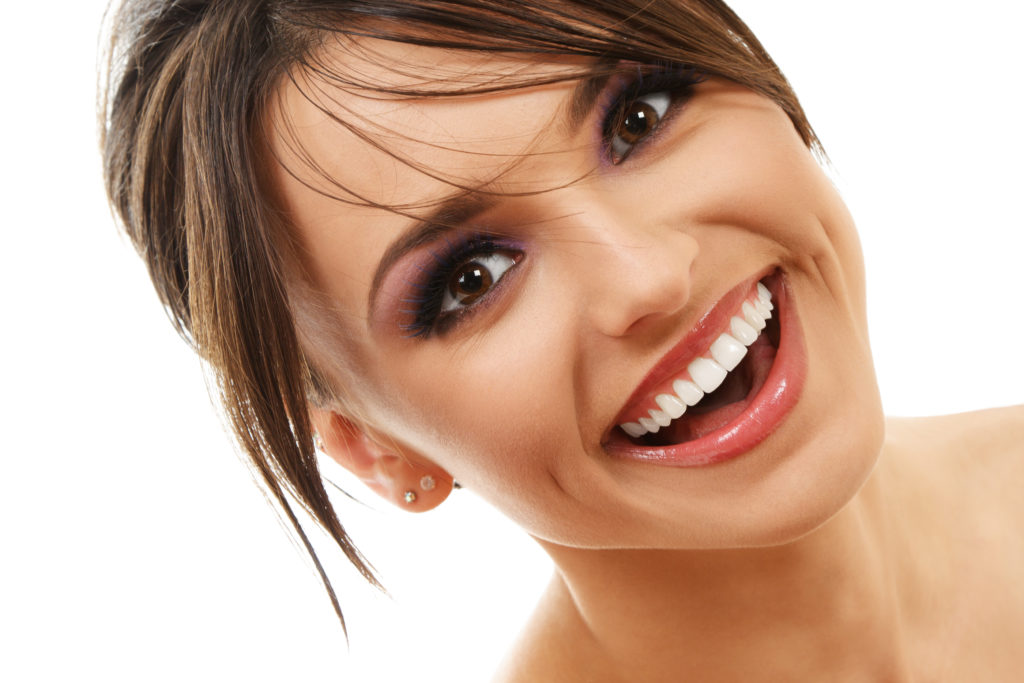 attractive woman smiling with beautiful teeth